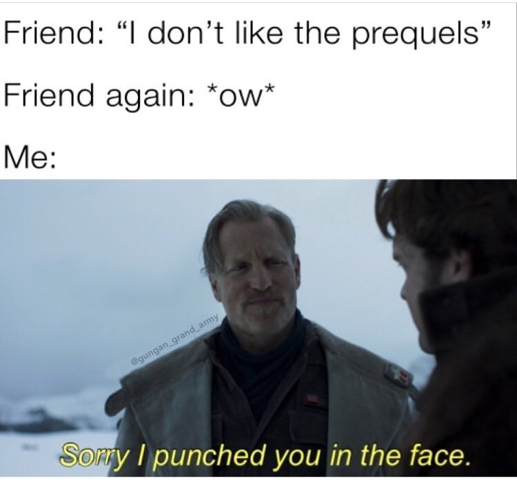 """Text - Friend: """"I don't like the prequels"""" Friend again: *ow* Me: @gungan grand army Somy I punched you in the face."""
