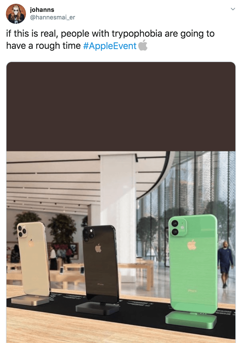 twitter - Product - johanns @hannesmai_er if this is real, people with trypophobia are going to have a rough time #AppleEvent