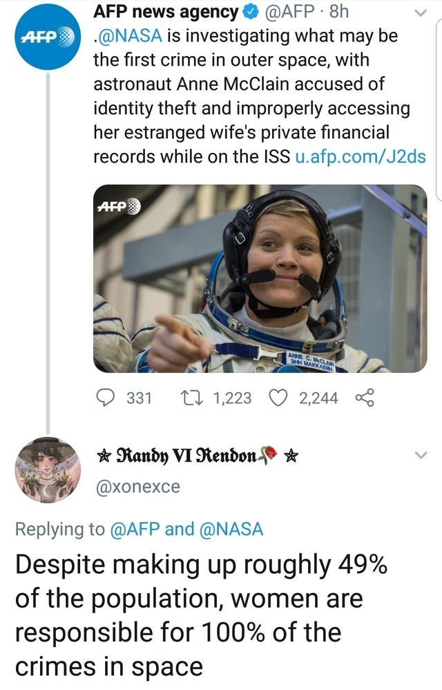 Text - @AFP 8h AFP news agency AFP @NASA is investigating what may be the first crime in outer space, with astronaut Anne McClain accused of identity theft and improperly accessing her estranged wife's private financial records while on the ISS u.afp.com/J2ds AFP ANNE C.McCLAN MAKKAE t1 1,223 2,244 331 Randy VI Rendon * @xonexce Replying to @AFP and @NASA Despite making up roughly 49% of the population, women are responsible for 100% of the crimes in space