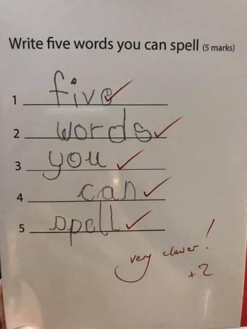 Text - Write five words you can spell (5 marks) five words gou Canv ppall 1 2 33 4 5 clas er +2 Ln