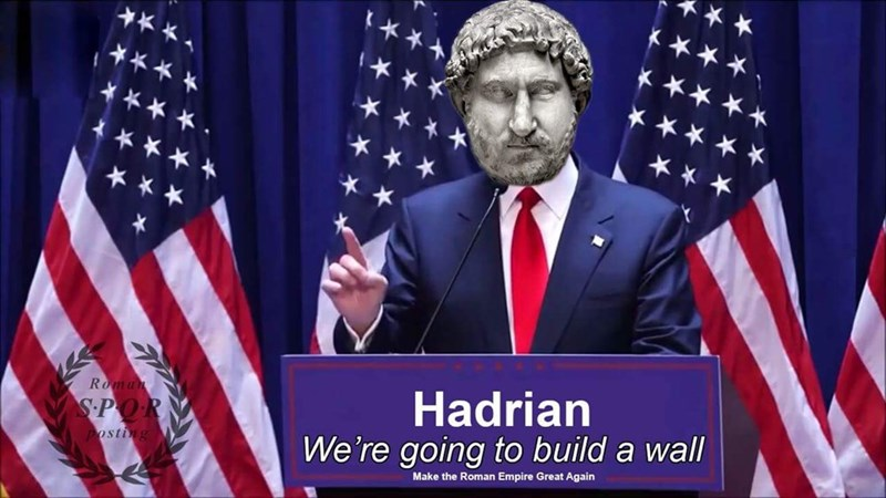 Flag of the united states - Roman Hadrian We're going to build a wall S.POR osting Make the Roman Empire Great Again