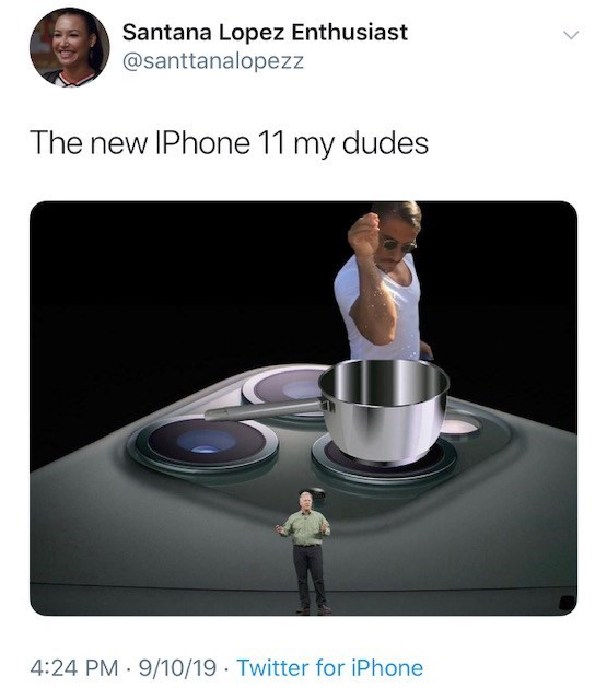 Product - Santana Lopez Enthusiast @santtanalopezz The new IPhone 11 my dudes 4:24 PM 9/10/19 Twitter for iPhone