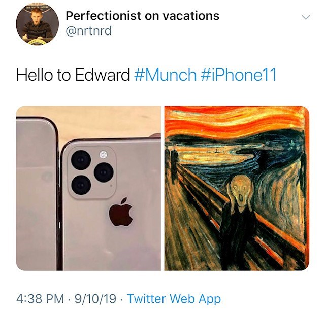 Art - Perfectionist on vacations @nrtnrd Hello to Edward #Munch #iPhone11 4:38 PM 9/10/19 Twitter Web App