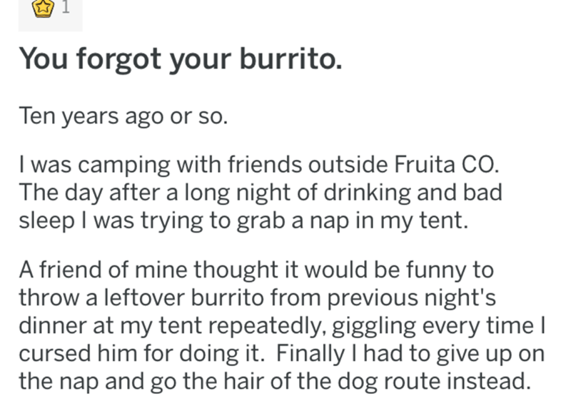Text - You forgot your burrito. Ten years ago or so. I was camping with friends outside Fruita CO. The day after a long night of drinking and bad sleep I was trying to grab a nap in my tent. A friend of mine thought it would be funny to throw a leftover burrito from previous night's dinner at my tent repeatedly, giggling every time I cursed him for doing it. Finally I had to give up on the nap and go the hair of the dog route instead.
