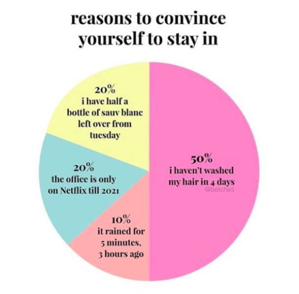 Text - reasons to convince yourself to stay in 20% i have half a bottle of sauv blane left over from tuesday 50% i haven't washed 20% the office is only on Netflix till 2021 my hair in 4 days betches 10% it rained for 5 minutes. 3 hours ago