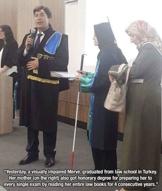 """Event - """"Yesterday, a visually impaired Merve, graduated from law school in Turkey. Her mother (on the right) also got honorary degree for preparing her to every single exam by reading her entire law books for 4 consecutive years."""""""