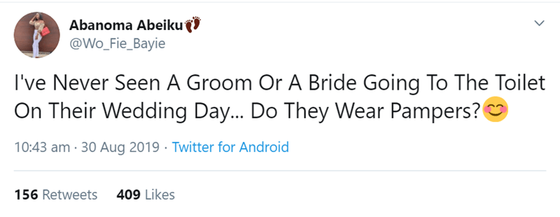 Text - Abanoma Abeiku @Wo_Fie_Bayie I've Never Seen A Groom Or A Bride Going To The Toilet On Their Wedding Day... Do They Wear Pampers? 10:43 am 30 Aug 2019 Twitter for Android 409 Likes 156 Retweets
