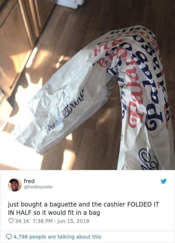 Material property - ETT SE fred @fredboycolor just bought a baguette and the cashier FOLDED IT IN HALF so it would fit in a bag 34.1K 7:38 PM - Jun 15, 2019 4,796 people are talking about this