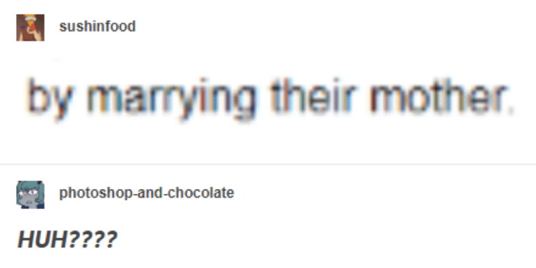 Text - sushinfood by marrying their mother photoshop-and-chocolate HUH????