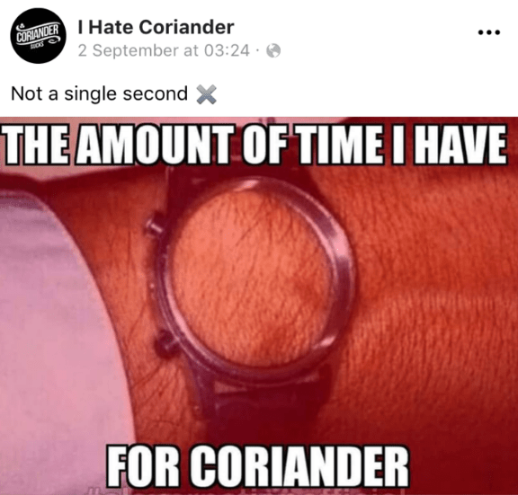 Text - CORANDER Hate Coriander 2 September at 03:24 Not a single second THE AMOUNT OF TIME I HAVE FOR CORIANDER