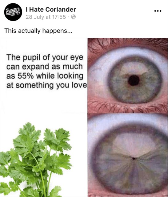 Eye - ORANDERHate Coriander 28 July at 17:55 This actually happens... The pupil of your eye can expand as much as 55% while looking at something you love :