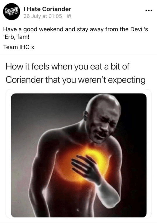 Text - CORANDERHate Coriander 26 July at 01:05 Rod Have a good weekend and stay away from the Devil's 'Erb, fam! Team IHC x How it feels when you eat a bit of Coriander that you weren't expecting