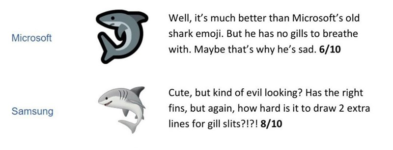 Text - Text - Well, it's much better than Microsoft's old shark emoji. But he has no gills to breathe Microsoft with. Maybe that's why he's sad. 6/10 Cute, but kind of evil looking? Has the right fins, but again, how hard is it to draw 2 extra Samsung lines for gill slits?!?! 8/10