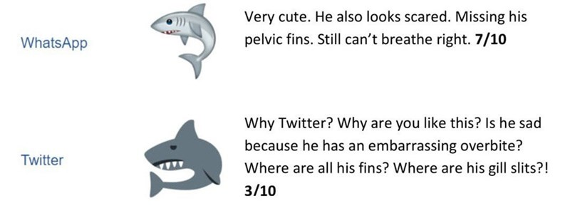Text - Fish - Very cute. He also looks scared. Missing his pelvic fins. Still can't breathe right. 7/10 WhatsApp Why Twitter? Why are you like this? Is he sad because he has an embarrassing overbite? Twitter Where are all his fins? Where are his gill slits?! 3/10