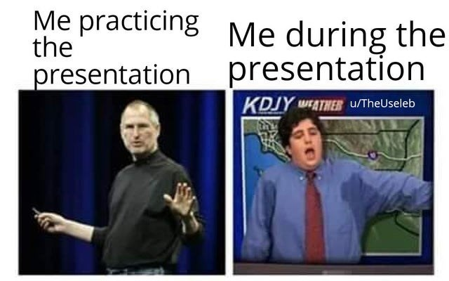 Text - Me practicing Me during the the presentation presentation KDJY WEATHER u/TheUseleb