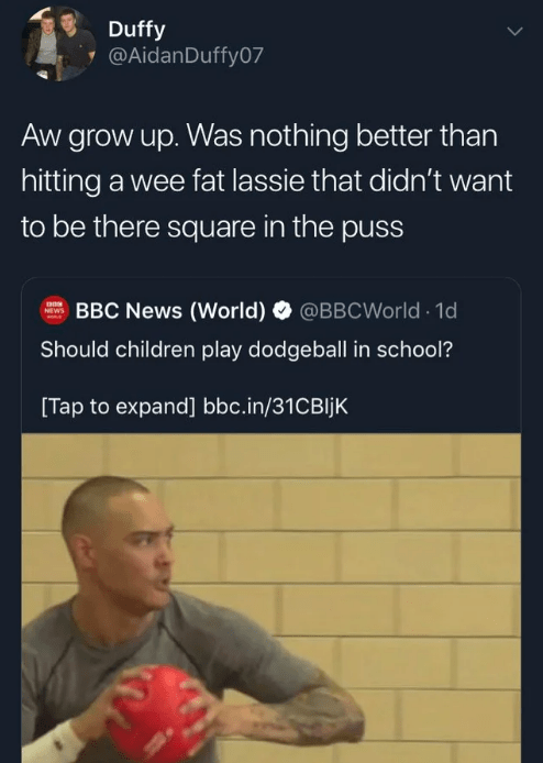 twitter - Text - Duffy @AidanDuffy07 Aw grow up. Was nothing better than hitting a wee fat lassie that didn't want to be there square in the puss BBC News (World) @BBCWorld 1d NEWS Should children play dodgeball in school? [Tap to expand] bbc.in/31CBIJK|