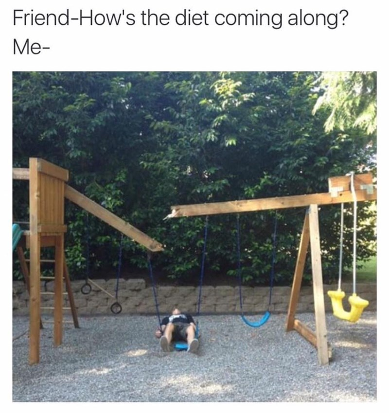 "Funny meme that reads, ""Friend: how's the diet coming along? Me: ..."" above a photo of a guy who broke a swing set after sitting on it"