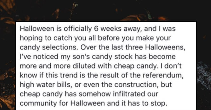Dad's Facebook post calls out parents who hand out cheap Halloween candy.