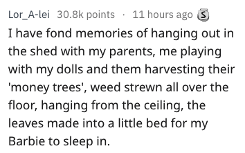 Text - Lor_A-lei 30.8k points 11 hours ago I have fond memories of hanging out in the shed with my parents, me playing with my dolls and them harvesting their 'money trees', weed strewn all over the floor, hanging from the ceiling, the leaves made into a little bed for my Barbie to sleep in.