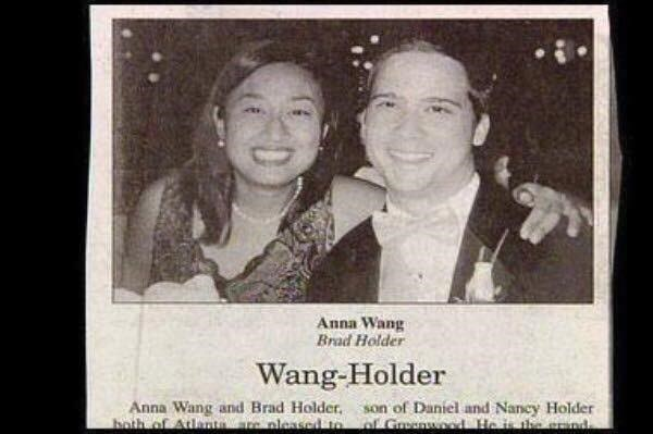 Photograph - Anna Wang Brad Holder Wang-Holder Anna Wang and Brad Holder. both of Atunta e pleased to son of Daniel and Nancy Holder o Grenwod He is the end
