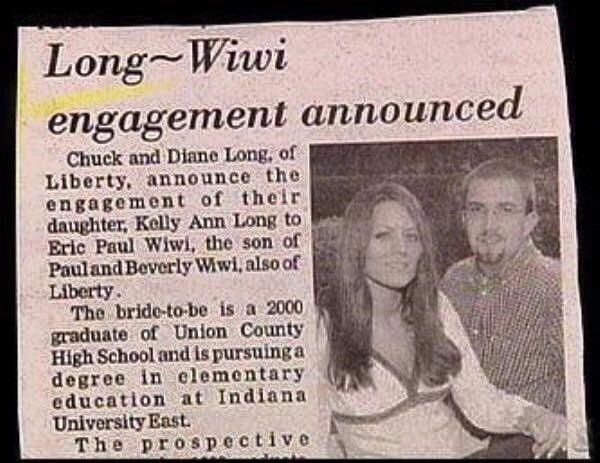 Text - Long Wiwi engagement announced Chuck and Diane Long, of Liberty, announce the engagement of their daughter, Kelly Ann Long to Eric Paul Wiwi, the son of Pauland Beverly Wiwi, also of Liberty The bride-to-be is a 2000 graduate of Union County High School and is pursuing a degree in elementary education at Indiana University East. The prospective