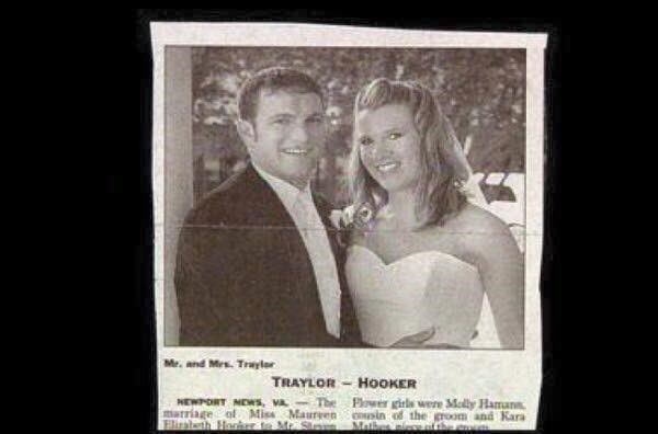 Photograph - Mr. and Mrs. Trayler TRAYLOR HOOKER The Pwer girls were Mally Haman the NEWPORT MEWS, VA marriage of Miss Maurven sin Firabeth Honher to Mr. Sns Math room and Kara