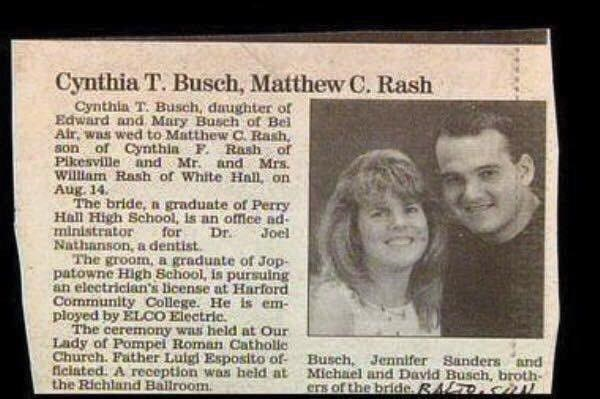 Text - Cynthia T. Busch, Matthew C. Rash Cynthla T. Busch, daughter ofr Edward and Mary Busch of Bel Air. was wed to Matthew C Rash, son of Cynthia F. Rash of Pikesville and Mr. and Mrs. willam Rash of White Haln, on Aug. 14 The bride, n graduate of Perry Hall High School, is an office ad- ministrator Nathanson, a dentist The groom, a graduate of Jop- patowne High School, is pursuing an electrician's license at Harford Community College. He is em ployed by ELCO Electric. The ceremony was held at