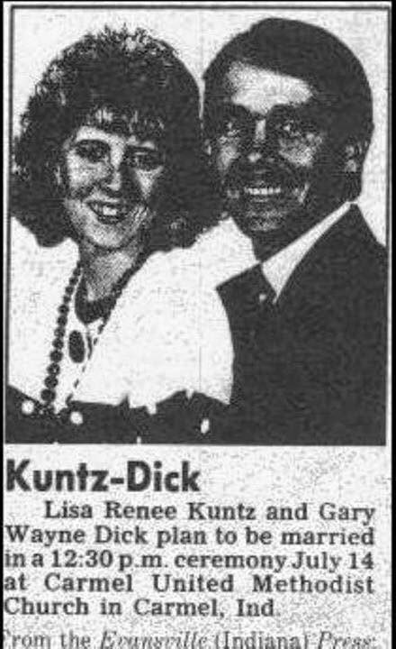 Photo caption - Kuntz-Dick Lisa Renee Kuntz and Gary Wayne Dick plan to be married in a 12:30 p.m. ceremony July 14 at Carmel United Methodist Church in Carmel, Ind rom the Eunsrille (Indianal