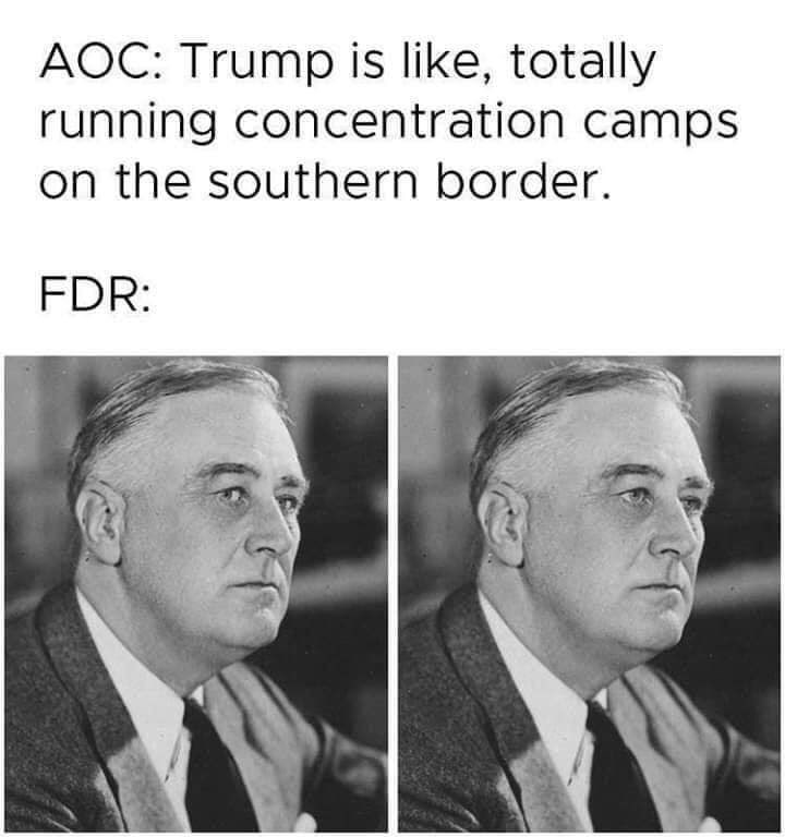 Text - AOC: Trump is like, totally running concentration camps on the southern border. FDR: