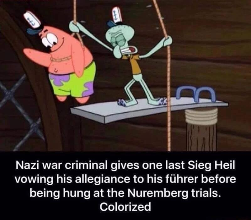 Cartoon - Nazi war criminal gives one last Sieg Heil vowing his allegiance to his führer before being hung at the Nuremberg trials. Colorized