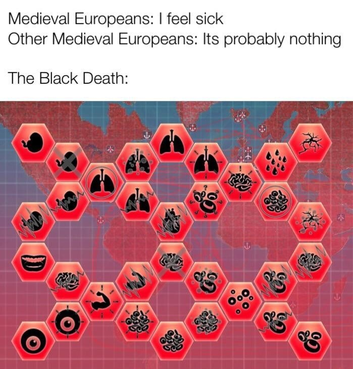 Red - Medieval Europeans: I feel sick Other Medieval Europeans: Its probably nothing The Black Death: Col
