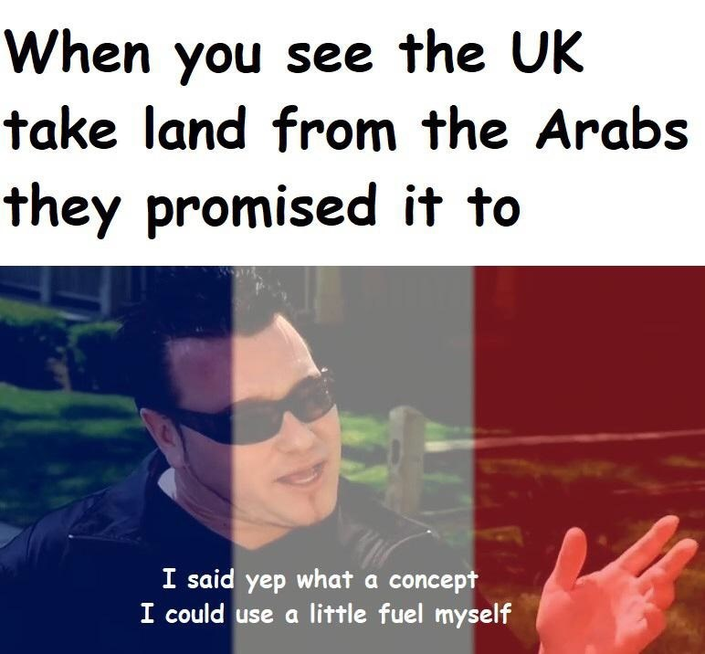 Text - When you see the UK take land from the Arabs they promised it to I said yep what a concept I could use a little fuel myself