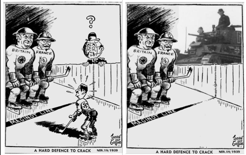 Cartoon - BRITAIN FRANCE BRITAIN FRANCE MAGINOT LINE MAGINOT LINE ఈ SOHN A HARD DEFENCE TO CRACK NOV.18/1939 A HARD DEFENCE TO CRACKNOV.18/1939