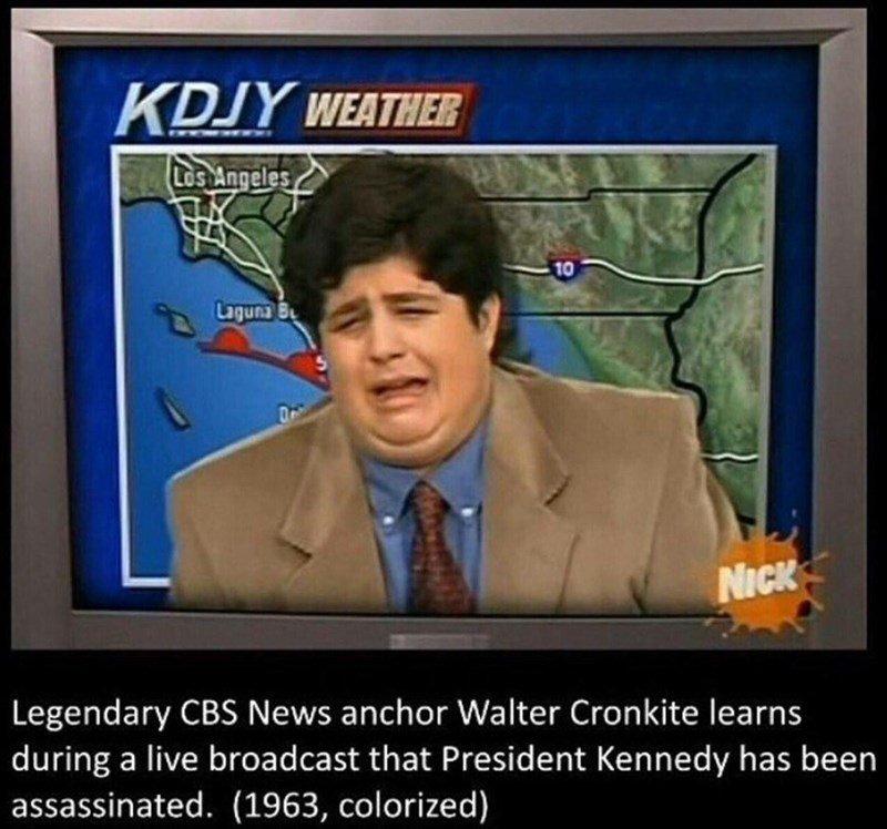News - KDJY WEATHER Los Angeles 10 Laguna NICK Legendary CBS News anchor Walter Cronkite learns during a live broadcast that President Kennedy has been assassinated. (1963, colorized)