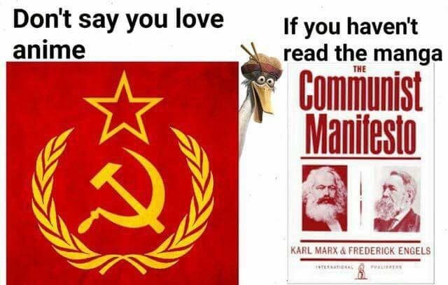 Text - Don't say you love anime If you haven't read the manga THE Communist Manifesto KARL MARX&FREDERICK ENGELS TERATIONA