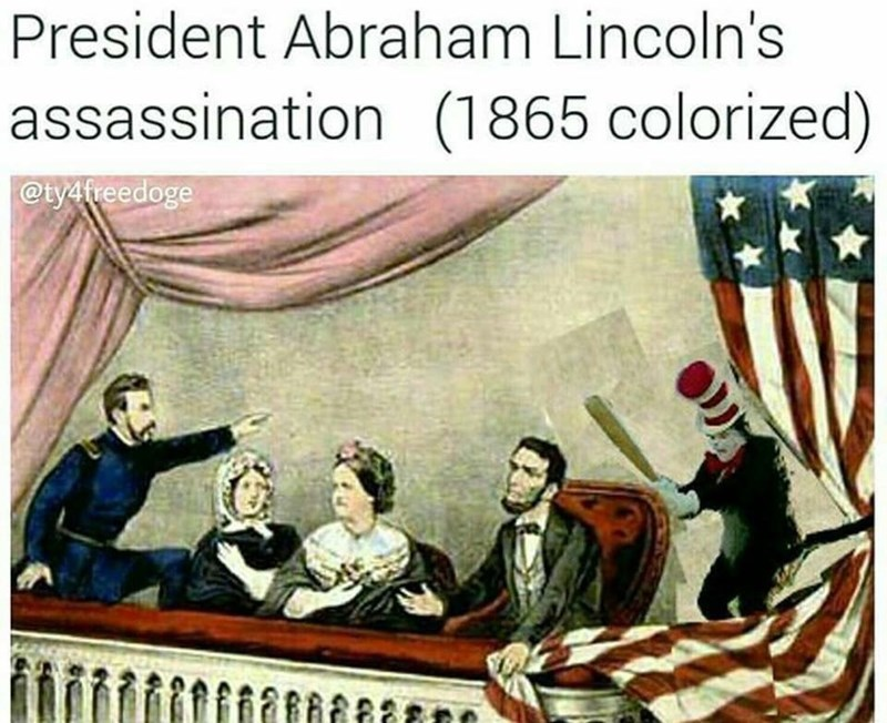 Cartoon - President Abraham Lincoln's assassination (1865 colorized) @ty4freedoge