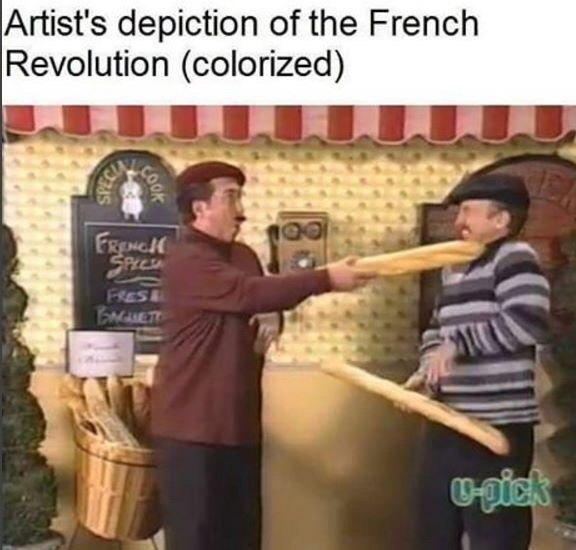 Artist's depiction of the French Revolution (colorized) FRENCH SPECSA FRES BETT மு COOK