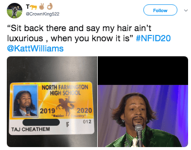 """Product - Follow aCrownKing522 """"Sit back there and say my hair ain't luxurious , when you know it is"""" #NFID20 @KattWilliams NORTH FARMNGTON HIGH SCHOOL 2019 """"Raider 2020 untry 012 TAJ CHEATHEM"""