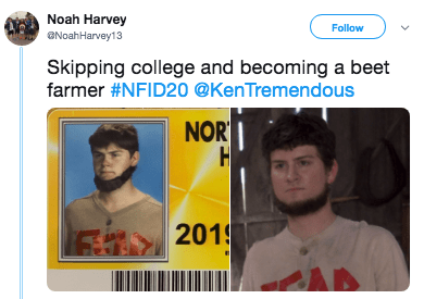 Face - Noah Harvey NoahHarvey13 Follow Skipping college and becoming a beet farmer #NFID20 @KenTremendous NOR H 2019