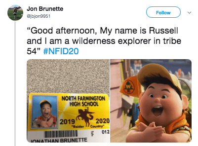 """Text - Jon Brunette Follow jbjon9951 """"Good afternoon, My name is Russell and I am a wilderness explorer in tribe 54"""" #NFID20 NORTH FARMINGTON HIGH SCHOOL 2020 Country 2019 """"Raider 012 IONATHAN BRUNETTE"""