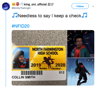 "Text - king oni official zU Follow aSmittyTheKnight Needless to say I keep a checkJ #NFID20 NORTH FARMINGTON HIGH SCHOOL 2019 2020 Country"" ""Raider 012 COLLIN SMITH"