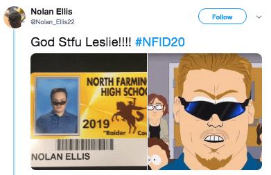 "Cartoon - Nolan Ellis Follow Nolan Ellis22 God Stfu Leslie!!! #NFID20 NORTH FARMIN HIGH SCHO 2019 Co ""Raider NOLAN ELLIS"