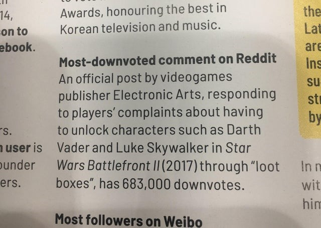 "Text - Awards, honouring the best in Korean television and music. the Lat 14, on to ebook. are Most-downvoted comment on Reddit Ins An official post by videogames publisher Electronic Arts, responding to players' complaints about having to unlock characters such as Darth Su st by S. Vader and Luke Skywalker in Star Wars Battlefront II (2017) through ""loot boxes"", has 683,000 downvotes. user is under In n ers. wit him Most followers Wei"