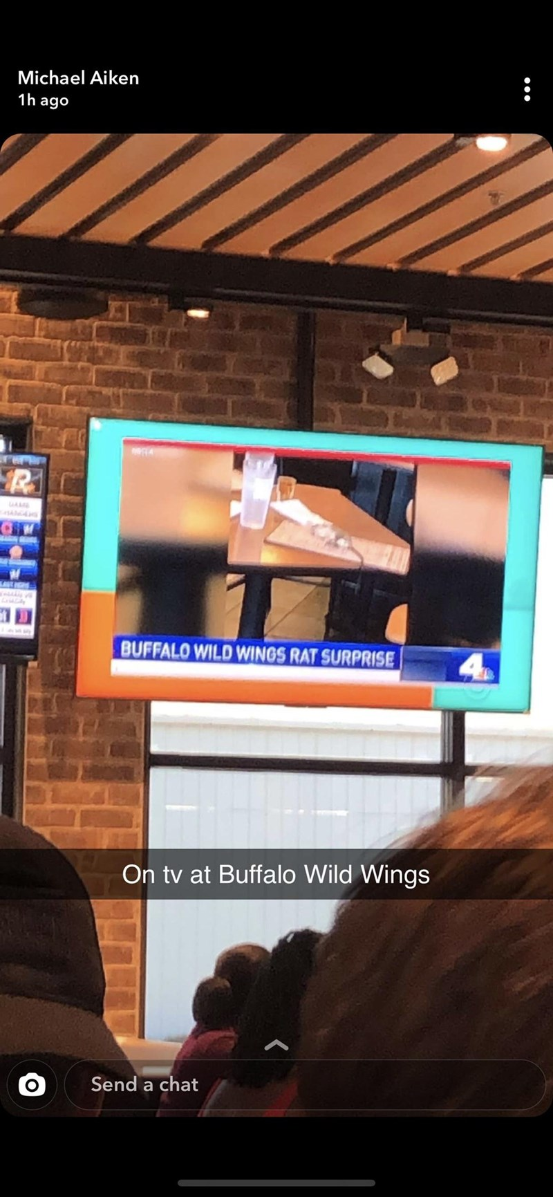 Display device - Michael Aiken 1h ago GA BUFFALO WILD WINGS RAT SURPRISE On tv at Buffalo Wild Wings Send a chat