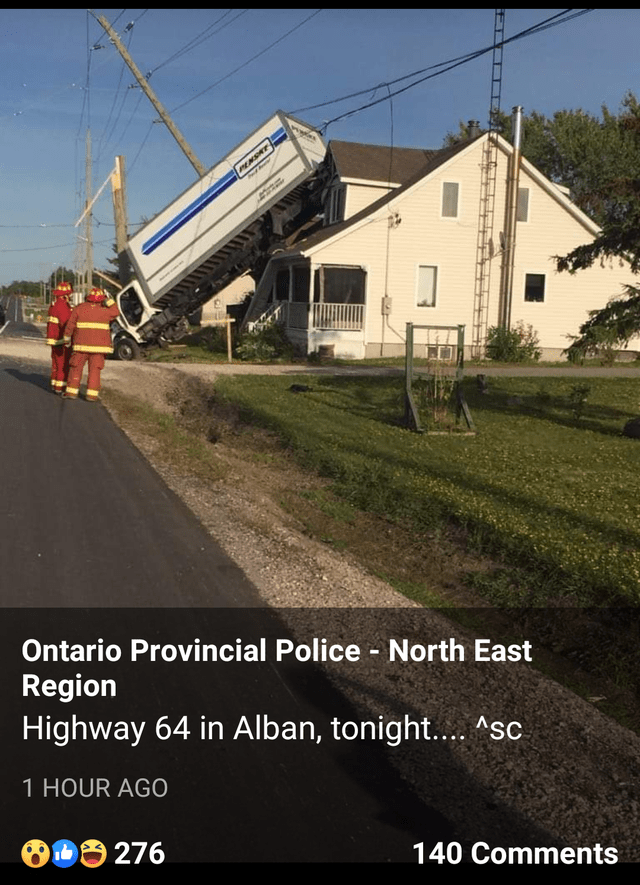 Transport - PENSAT Ontario Provincial Police North East Region Highway 64 in Alban, tonight....Asc 1 HOUR AGO D276 140 Comments