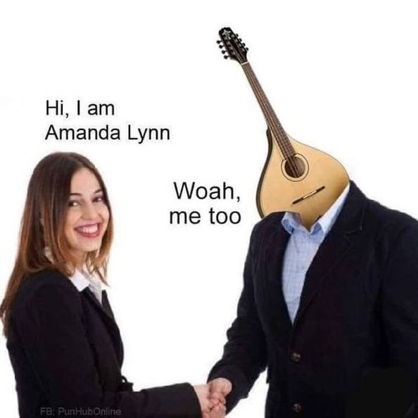 Funny stock photo meme of a woman named Amanda Lynn meeting someone with a mandolin head