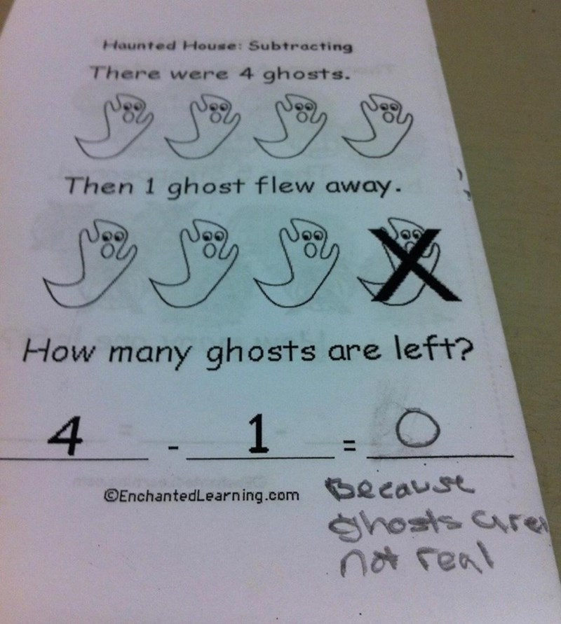 Text - Haunted House: Subtracting There were 4 ghosts. Then 1 ghost flew away. How many ghosts are left? 1 O 4 Because Shosts cre na feal OEnchantedLearn ing.com