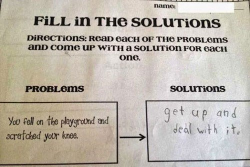 Text - name FILL in THe SOLUTIONS DiReCTions: ReaD eaCH OF THe PROBLOMS anD Come uP WiTHa SOLUTION FOR eacH one SOLUTIONS PROBLOMS get up and deal with it the playgrodnd and scratched your knee. You fell on