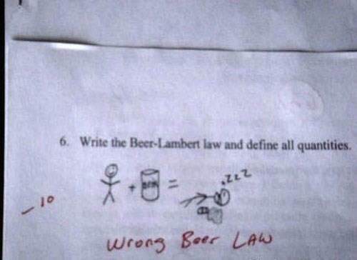 Text - 6. Write the Beer-Lambert law and define all quantities 8 wreng Boer LAN