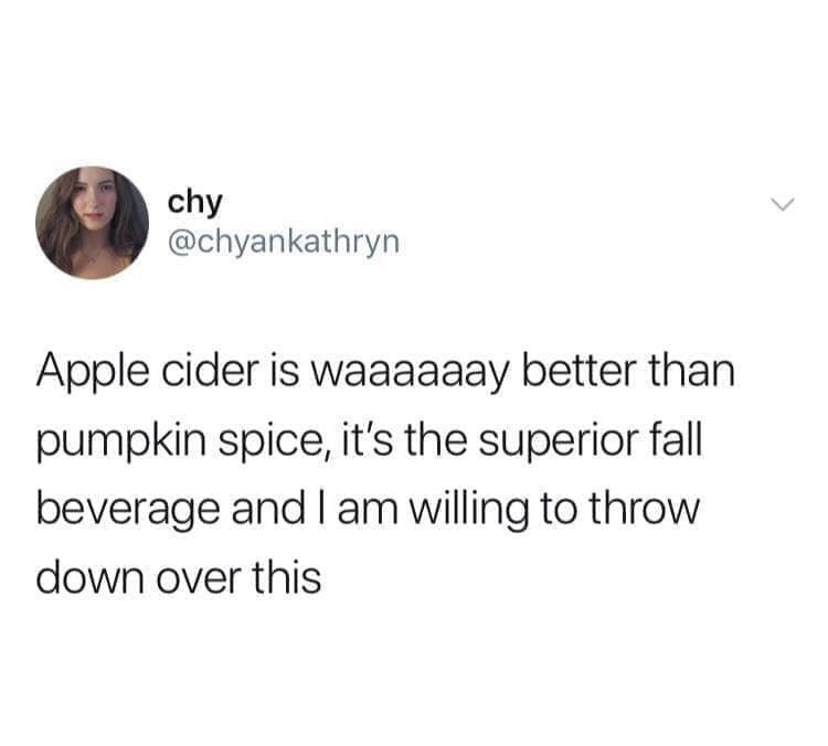 "Funny tweet that reads, ""Apple cider is waaaay better than pumpkin spice, it's the superior fall beverage and I am willing to throw down over this"""